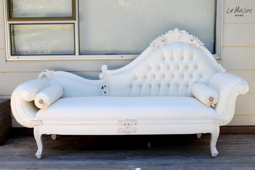 PRE ORDER: Grape Carved Chaise Longue - white