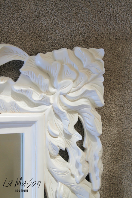 IN STOCK NOW: Flower carved Mirror - antique white