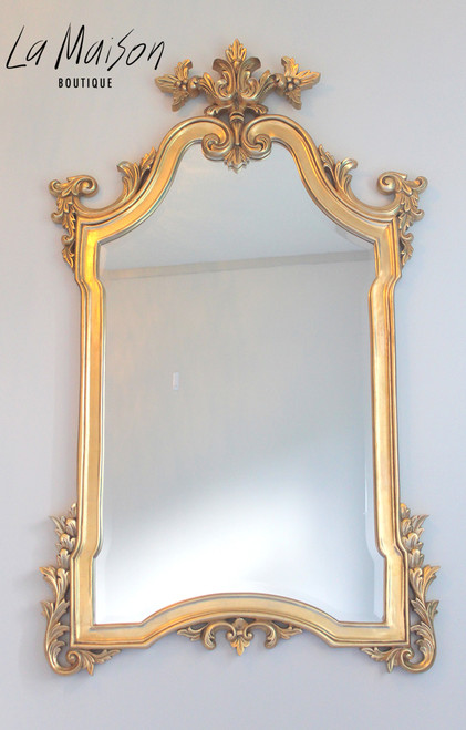 PRE ORDER: Flower top mirror - gold antique