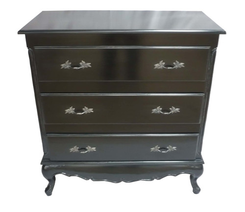 PRE ORDER: 3 drawer plain chest - black