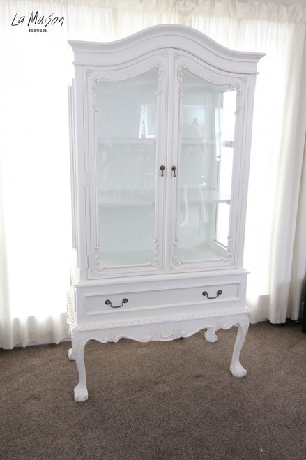 PRE ORDER: Glass display cabinet - antique white