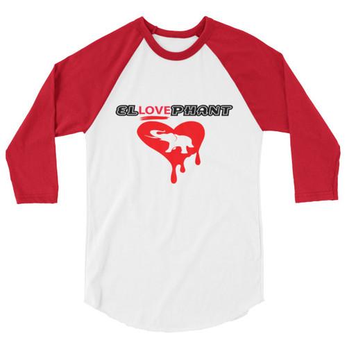 El-Love-Phant! Red 3/4 sleeve raglan shirt