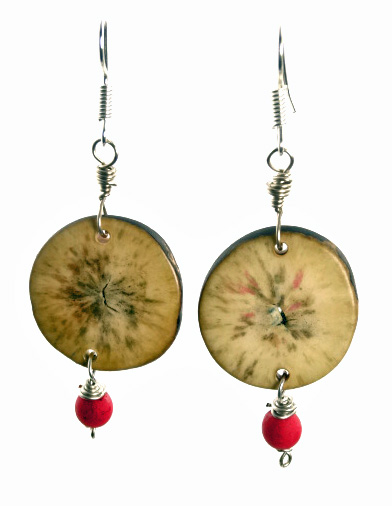 Eco-Chic Organic Tagua Sliced Earrings with Chirilla Seeds - Red