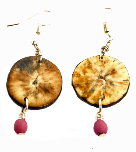 Eco-Chic Organic Tagua Sliced Earrings with Chirilla Seeds - Lavender