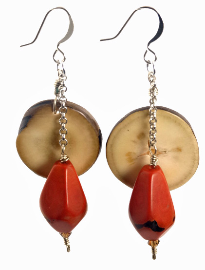 Chicon Tip and Tagua Nut Faceted Earrings - Tangerine