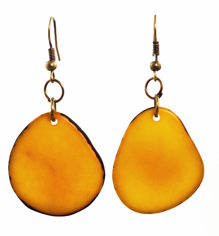 Boho Tagua Nut Earrings - Yellow