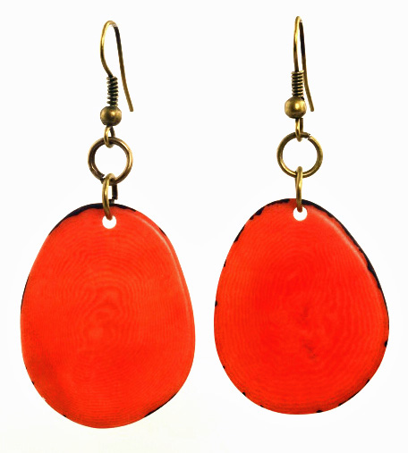 Boho Tagua Nut Earrings - Orange
