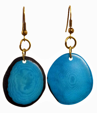 Boho Tagua Nut Earrings - Aqua