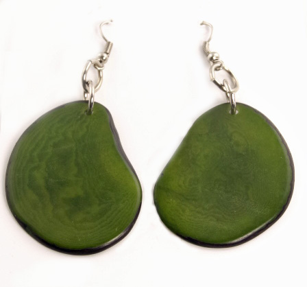 Boho Tagua Nut earrings - Green