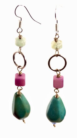Diamond Faceted Tagua Earrings - Aqua/Lavender