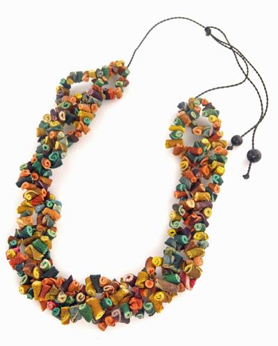 Orange Peel Necklace on Leather Cord - Multi-Color
