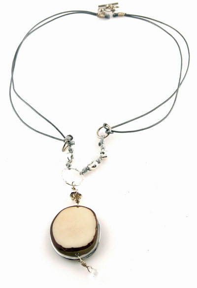 Eco-chic Ivory Tagua Slice Necklace with Silver Accents