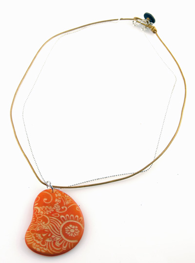 Double-Strand Tagua Slice Necklace with Laser Etching - Gold