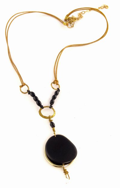 Eco-chic Tagua Slice with Chirilla Seed Necklace - Black and Metallic Gold