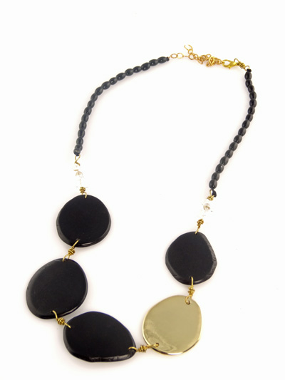 Eco-chic Black Tagua Slices Necklace with Metallic Gold Accent
