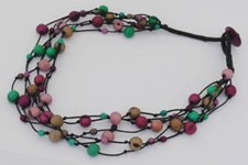 Summer Fireworks 5-Strand Acai and Chirilla Necklace - Winter Cool