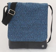 Recycled Canvas and Recycled TT Crossbody Bag -  Denim Blue