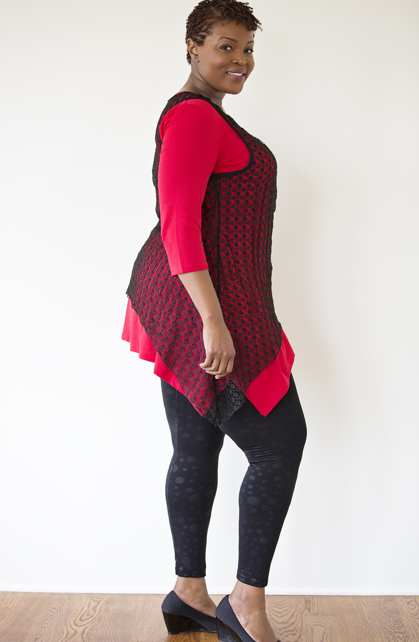 Asymmetrical Lace Overlay - Black