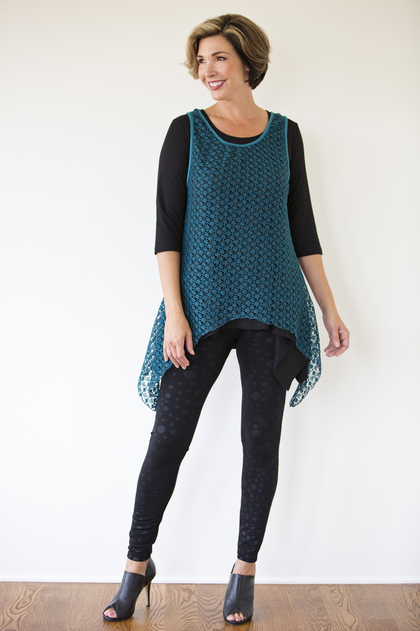 Asymmetrical Lace Overlay - Teal