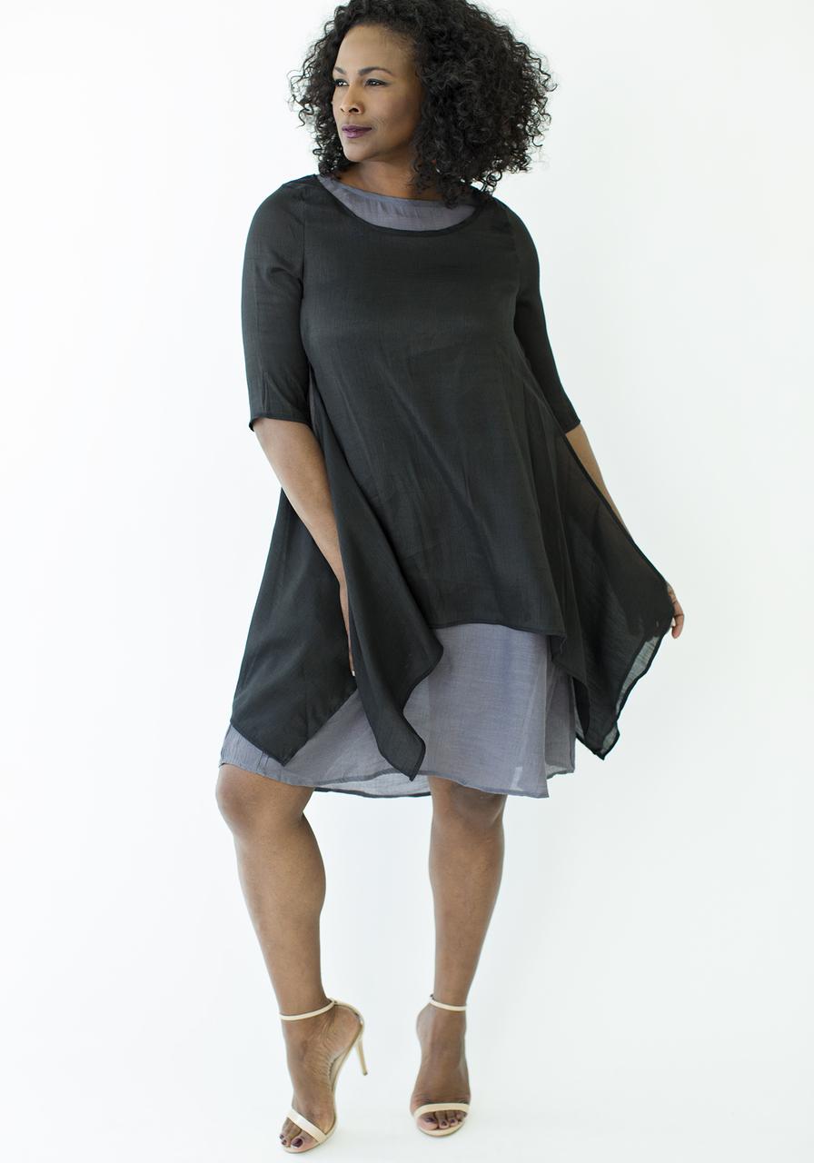 Sunday Morning 3/4 Length Sleeve Dress - Black
