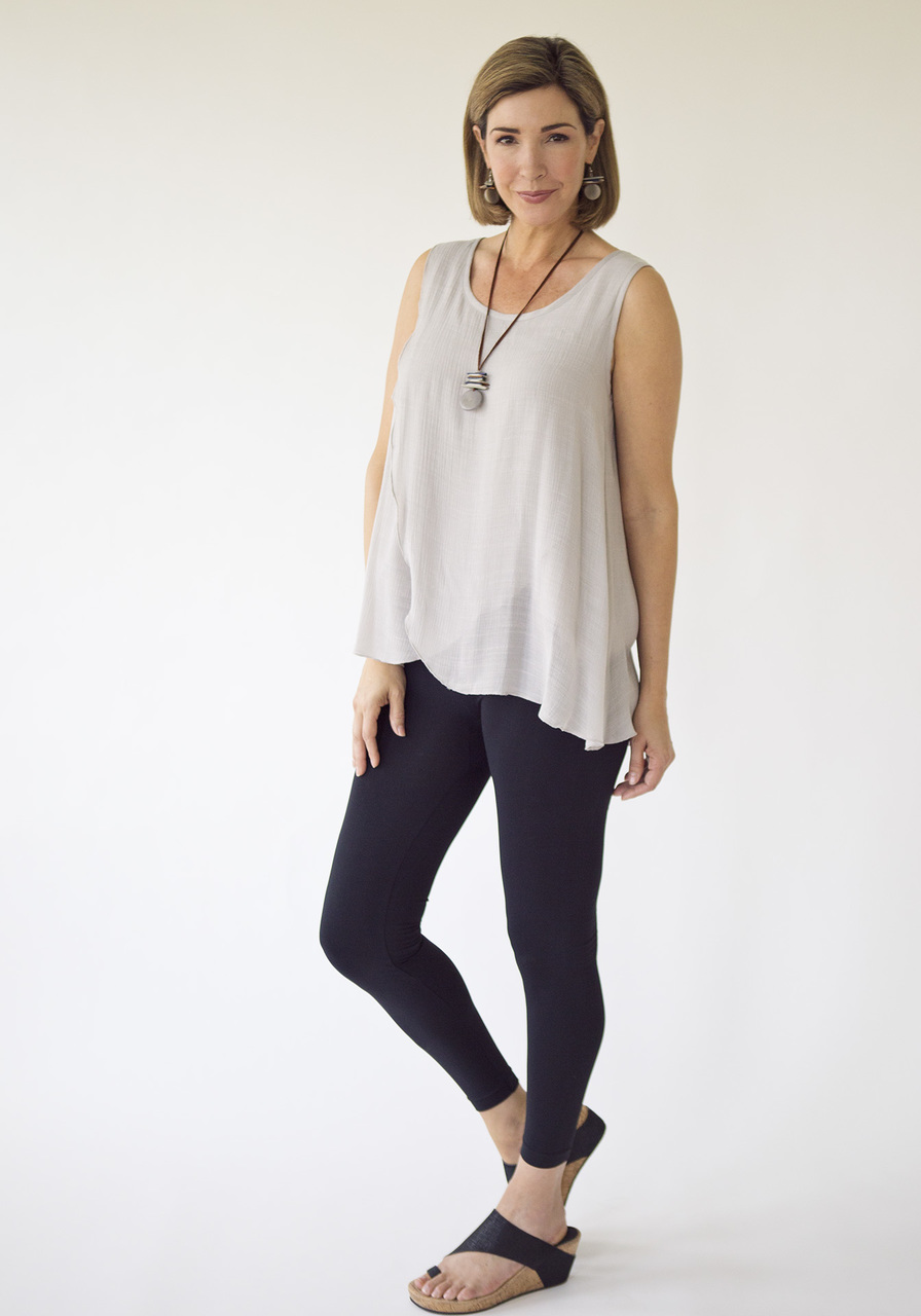 Pandora Sleeveless Top – Gray