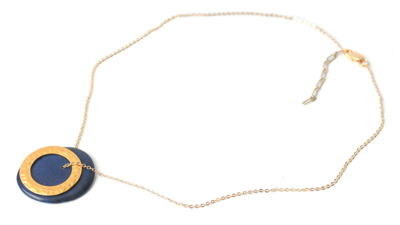 Solar Eclipse Necklace –Navy
