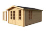 The Alexandra 44mm Log Cabin with the Double Window to be Fitted anywhere on this log cabin.