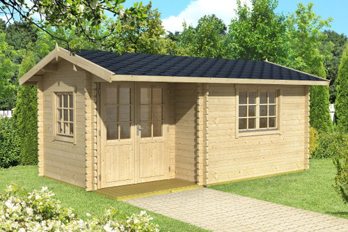 The Berkshire 53 Log Cabin from Lasita Maja is built with 44mm Logs.