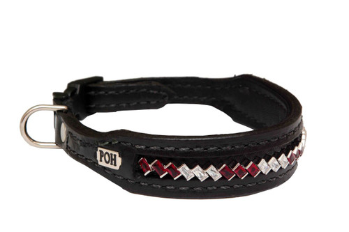 Dog Collar Small Diagonal 3 Red 3 Clear Design