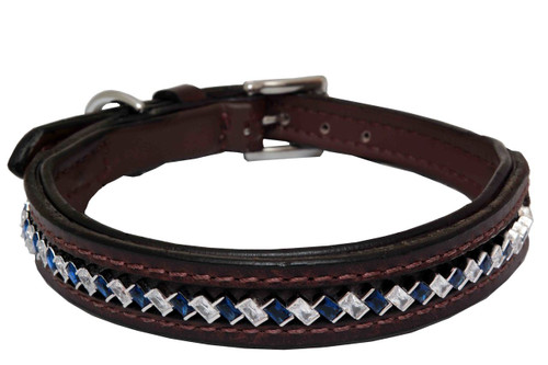 Dog Collar medium Diagonal Sapphire Clear Design