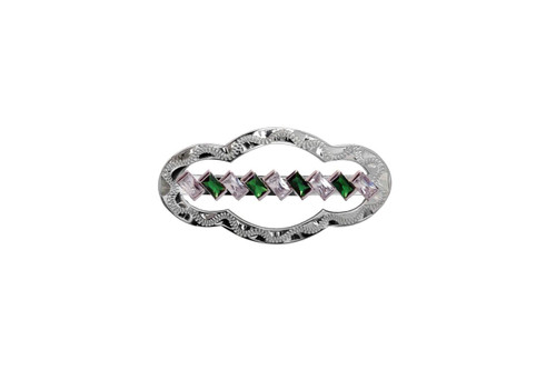 Stock Pin Diagonal Emerald Clear Medium Scallop Design