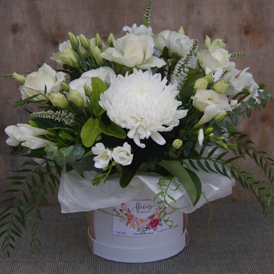Flowers in a Container | White Flowers in a Hat Box | Same Day ...