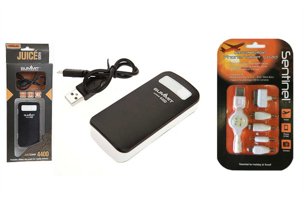 Summit Juicebank 4400 High Capacity Battery Charger & Sentinel 70cms Retractable Phone/Tablet Lead
