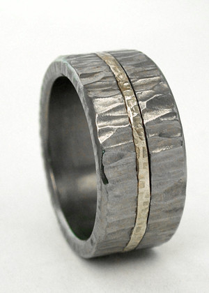 little hammer titanium ring with gold inlay