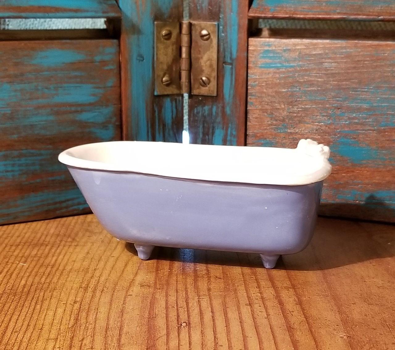 Claw Foot Bath Tub Soap Dish - Handmade in Oklahoma Blue Base - Red ...