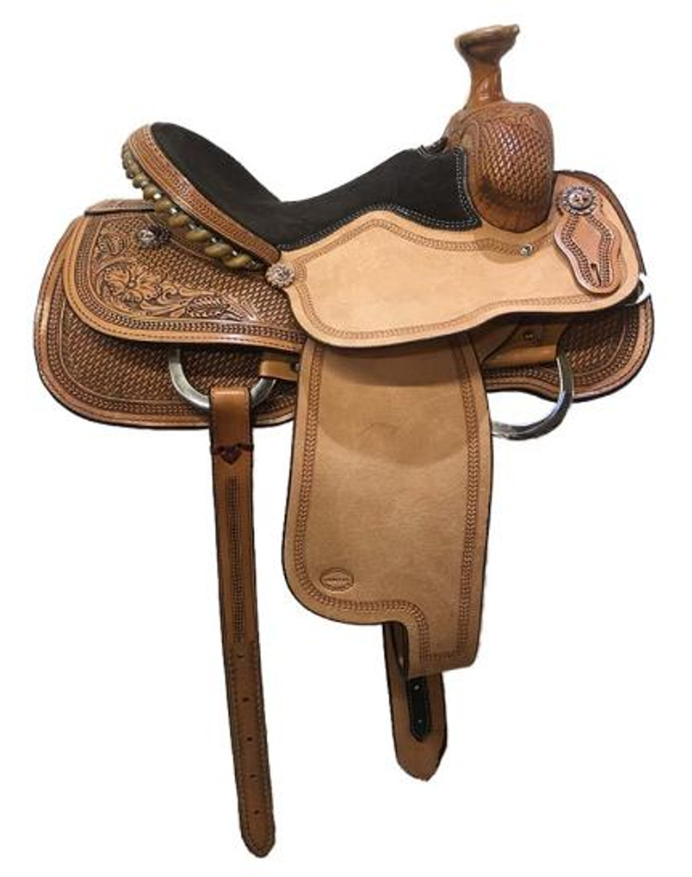 """Fort Worth Saddle Co  Arena Roper Saddle with 14"""" seat, 7.5"""" gullet.  Made in USA.   Heavily tooled skirts, fork, cantle. Padded seat, rough-out jockeys and fenders with border tooling. Cheyenne roll cantle with metal wrapped rawhide."""