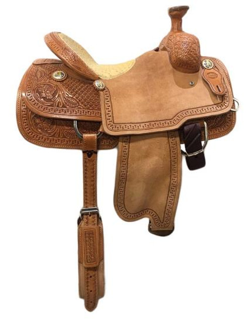 Calf Roping Saddle - NEW - Fort Worth Saddlery - Ostrich seat - 14.5""
