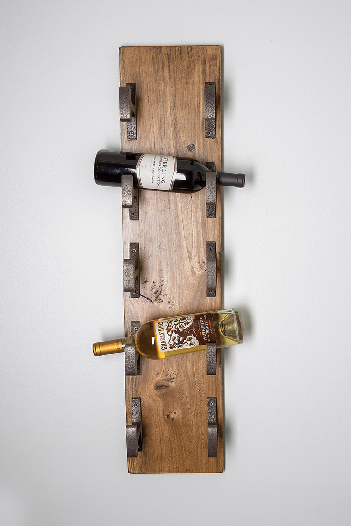 wall mount reclaimed wood wine rack with authentic vintage industrial age metal hooks repurposed