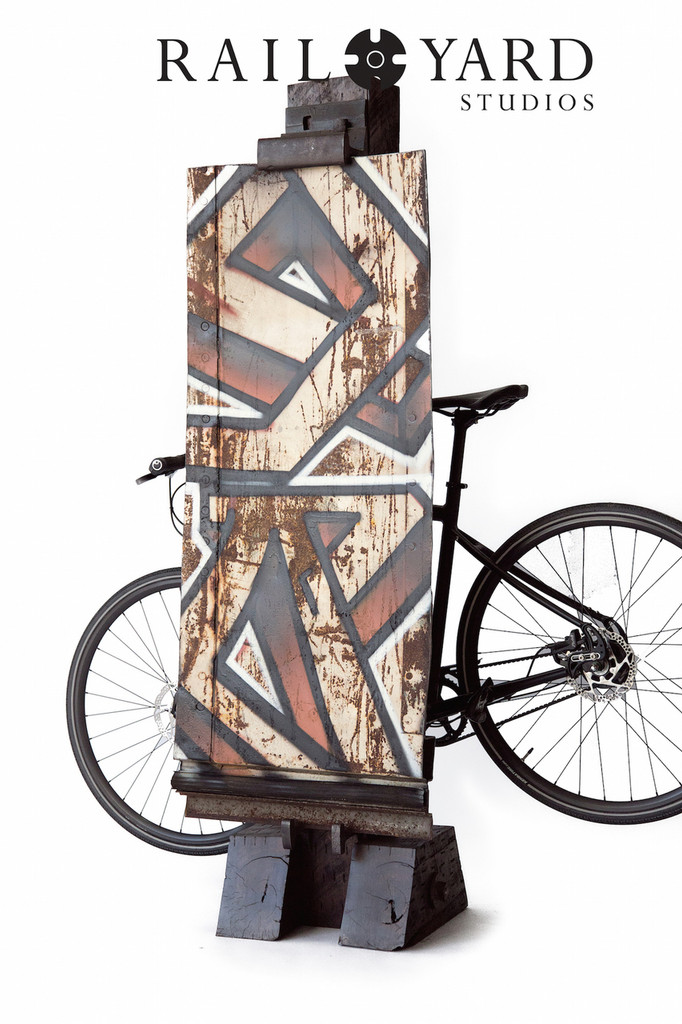 """YARD"" Graffiti & Bike Stand on Section of Steel Boxcar"