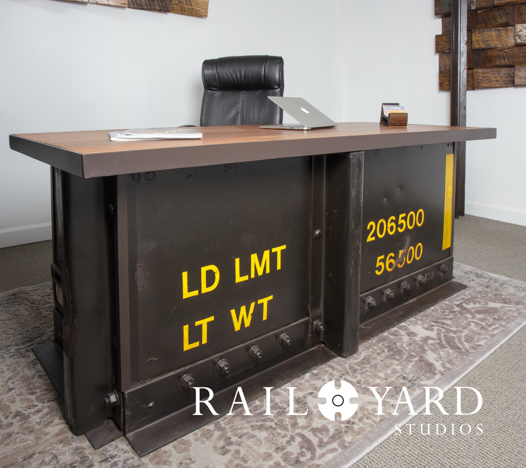 Industrial style railroad railcar executive desk with LD LMT and LT WT markings