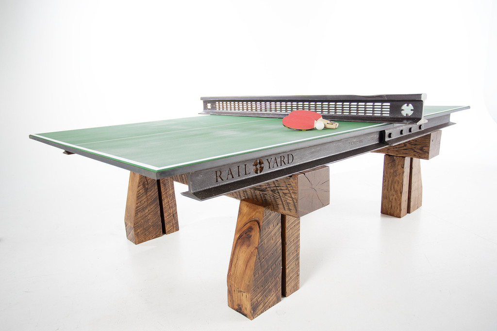 Nice Custom Industrial Style Ping Pong Table From Reclaimed Steel Railroad Rail  And Hardwood Timbers For Luxury