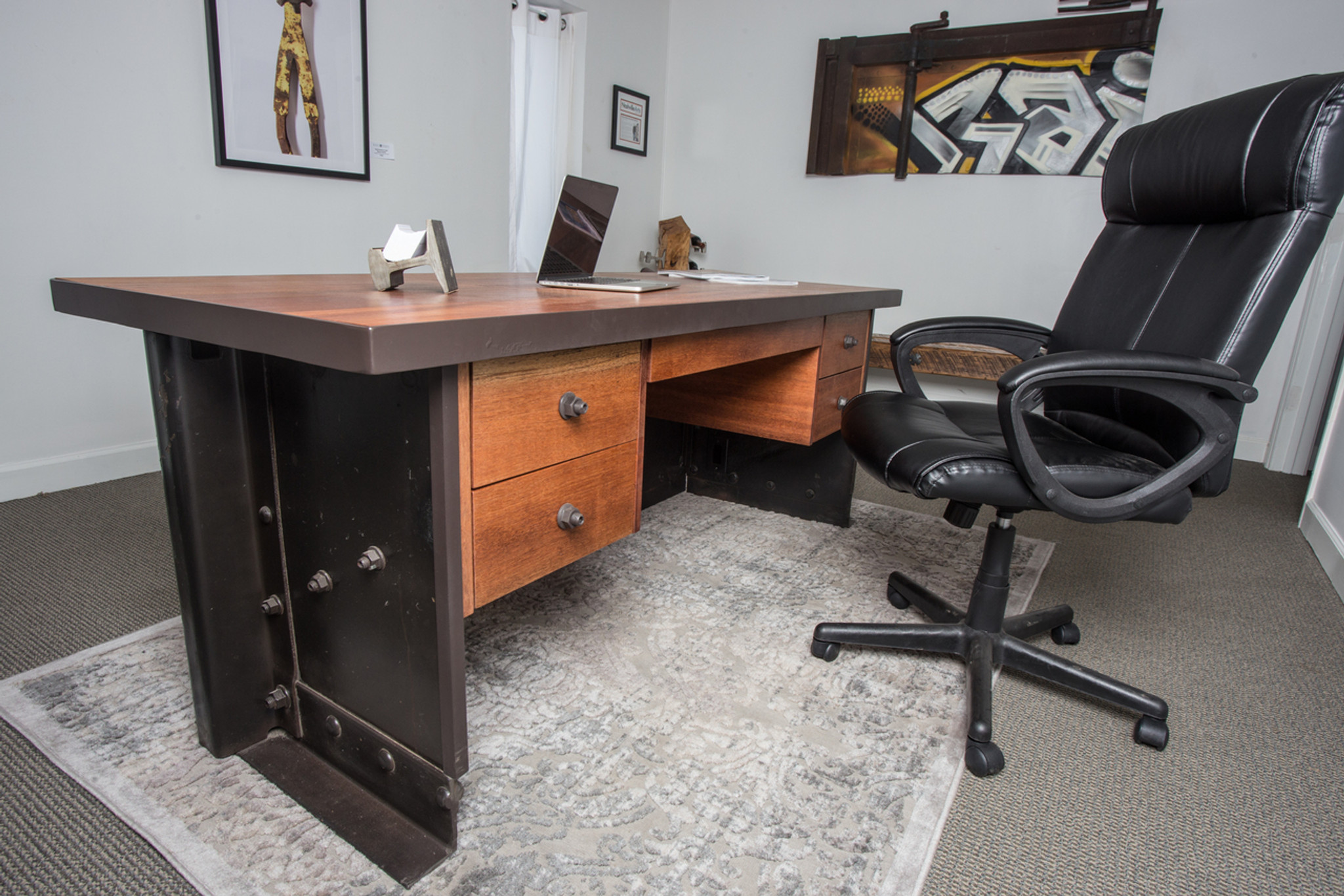 vintage modern decor style desk from reclaimed salvaged railroad railcar with drawers