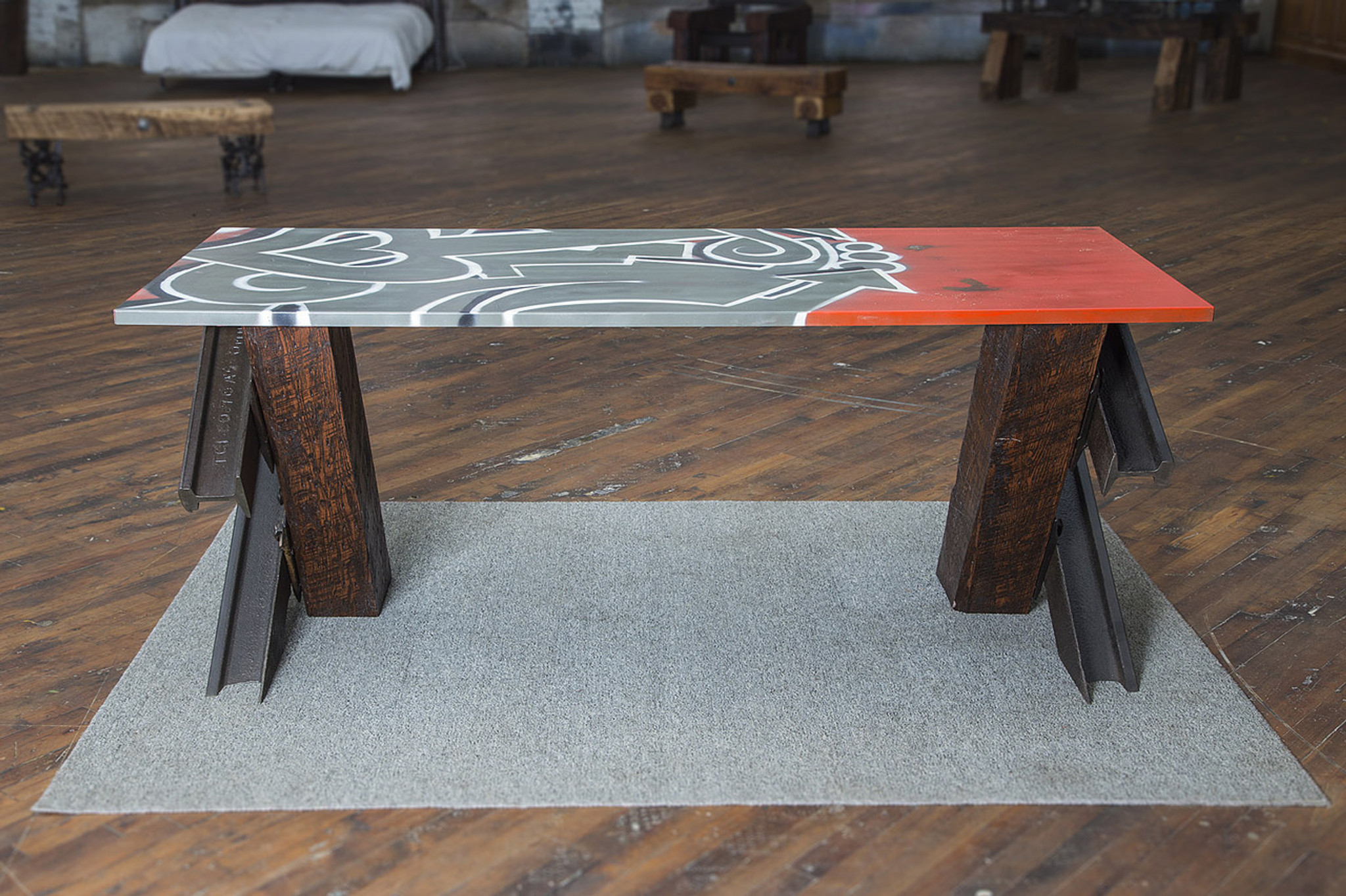 asymmetrical spray paint graffiti tabletop on modern design wood and style