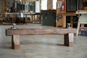 rich naturally grained red finish industrial bench from reclaimed oak wood