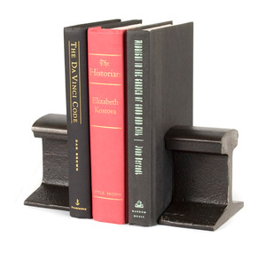 heavy steel bookends reclaimed industrial railroad