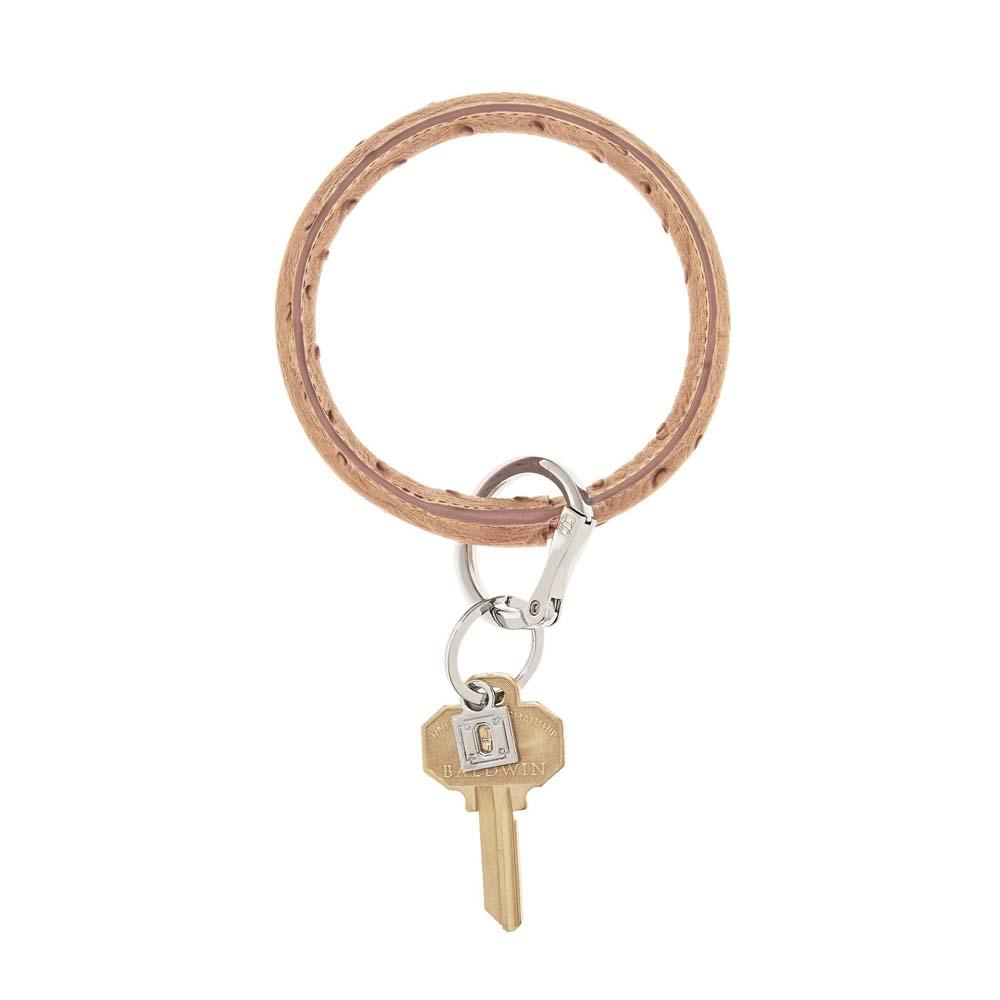 Mocha Ostrich Big O Key Ring
