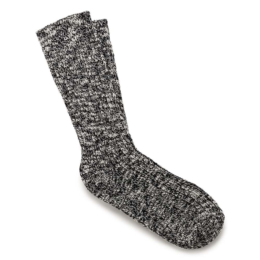 Women's Black/Grey Cotton Slub Socks
