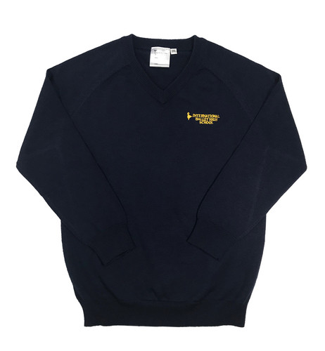 International Ballet High School navy blue V-necked jumper