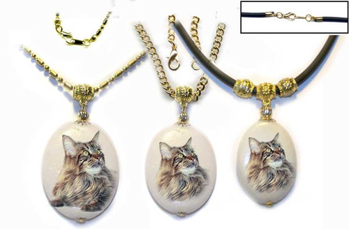 Brown Maine Coon Cat Dolomite pendant with gold trim