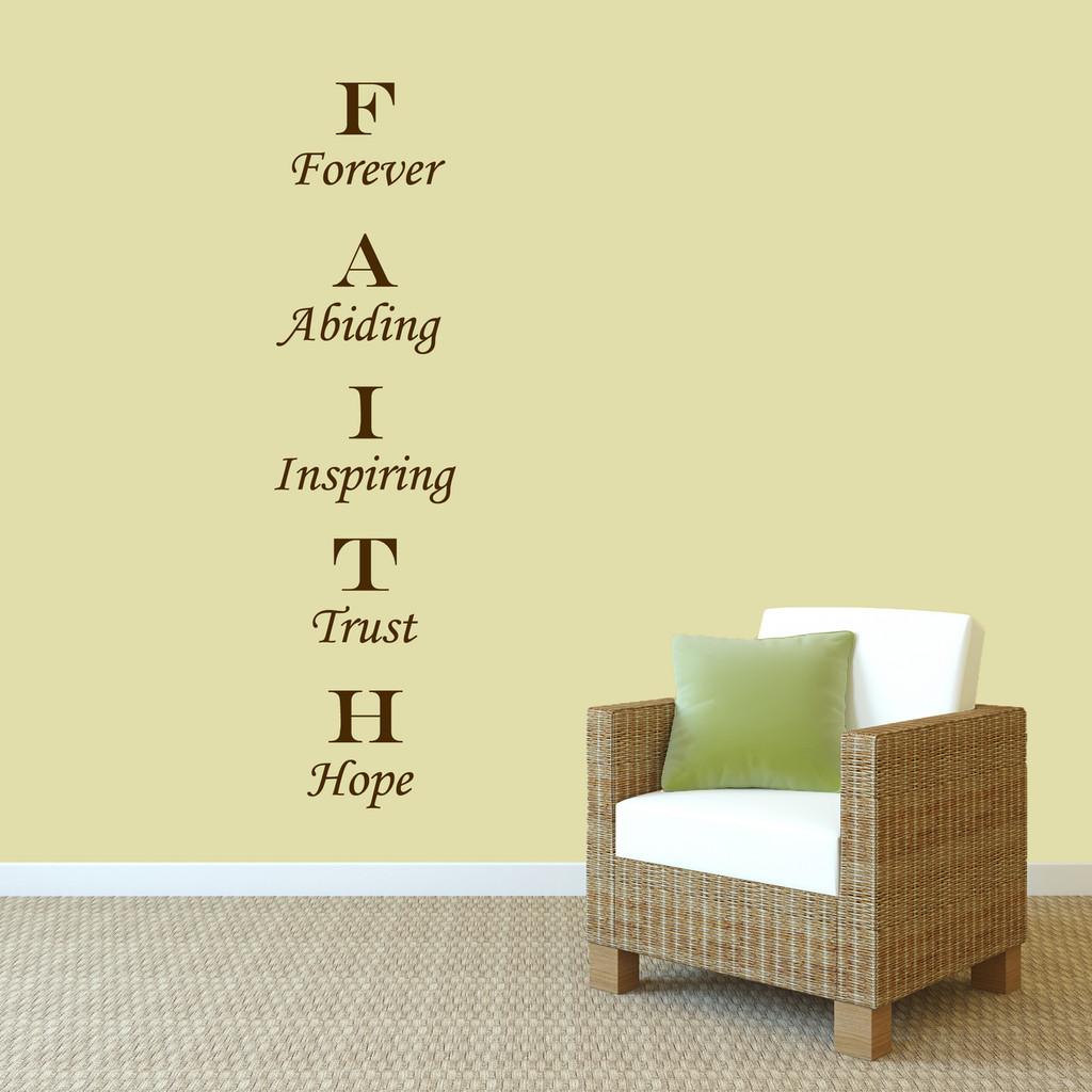 "Faith Wall Decal 15"" wide x 60"" tall Sample Image"